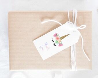 Unicorn Birthday Party Supplies, Unicorn Gift Tags, Unicorn Birthday Printable, Unicorn Birthday Thank you Tags, Unicorn theme Birthday