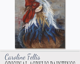 "Bird Painting, Acrylic Painting, Original Art, Proud Rooster by Caroline Fellis, 22x28"",Palette Knife Art, Acrylic on Canvas"
