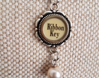 Rare cream ribbon key necklace with pearl drop accent / silvertone flower pendant / typewriter key necklace