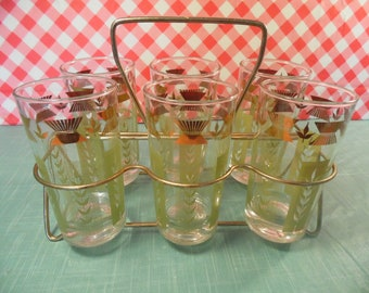 Vintage Metal Caddy Carrier - Set Of 6 Mod Glasses - 8 Ounce - 1960s