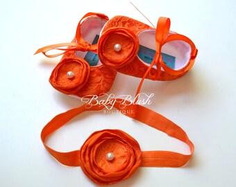 Orange Lace Baby Ballerina Hausschuhe mit passendem Stirnband