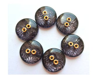 6 Buttons, vintage purple buttons with flowers pattern 18mm
