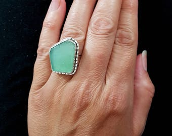 15% Refund on this Stunning One Of A Kind Adjustable 925 Sterling Silver Roman Glass  Ring