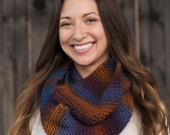 Hand Knit Infinity Scarf // Wool Scarf // Chunky Knit Scarf: Mountain Range