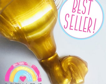 Gold Glitter Slime WITH surprise CHARM   Choose Your Own Scent   Sleeping Beauty Slime   Gold Slime   Cheap Slime   Slime Charms