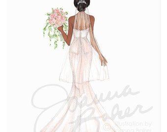 Semi-Custom Hair/Skin Tones - Blushing Bride Fashion Illustration Art Print / Fashion Illustration, Bridal Portrait, Bride Fashion Sketch