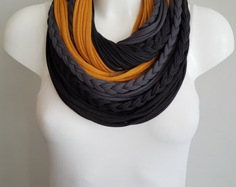 Infinity scarf, black scarf , circle scarf, fabric scarf, cotton fabric scarf, chunky scarf, scarf necklace, christmas infinity scarf