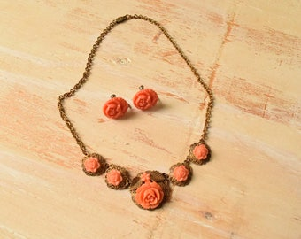 1940's Brass Filigree and Coral Flowers Earrings and Necklace Set
