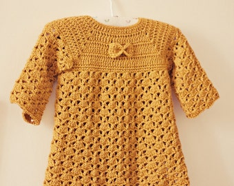 Dress Crochet PATTERN - Mustard Bow Dress (sizes up to 4 years)