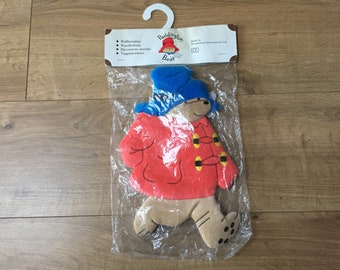 Vintage Plush Paddigton Bear Wall Hanging - Wonderland, Sweden, sealed in packaging, blue hat, red duffel coat and luggage label