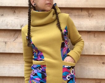 PSYCHEDELIC Hoodie Sweatshirt Sweater Handmade Recycled Upcycled One of a Kind Ladies EXTRA SMALL - Olive Green Flower Power