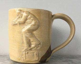 Skateboarder Mug Bas Relief Figure Sculpture Tumbler Nose Grind on a Television Street Art Pottery Cup