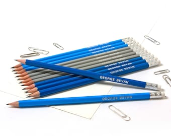 High Quality Personalised Pencils -Printed with Name - NAVY/GREY/OCEAN Mix (plus other colours)