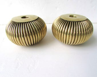 Pair Vintage Brass Candlestick Holders  - Short Fluted Pouf Shaped Brass Candle Holders - Ribbed or Fluted Brass - Round Squat Candlesticks