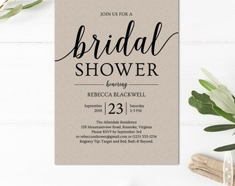 Simple Bridal Shower Invitation Template // Instant Download Printable Invitation // Editable Bridal Shower Invitations