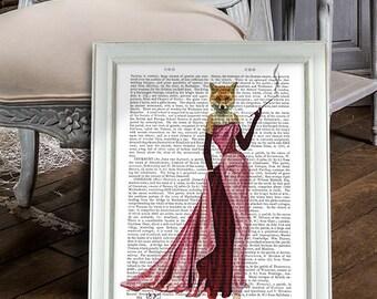 Foxy Lady - Glamour Fox in Pink, Fox Art Print fox print wall art wall decor fox illustration bridesmaid gift for sister cute animal print