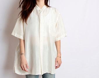 90s CREAM silk OVERSIZE short sleeve SLOUCHY front pocket shirt