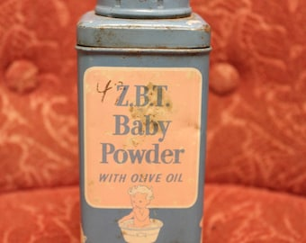 Vintage Baby Boy Blue Powder Tin