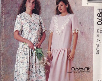 McCalls P970 Vintage Pattern Womens Dropped Waist Dress in2 Variations Size 6,8,10 UNCUT