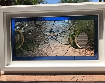 """Vinyl Framed and Tempered Glass Insulated!!  The """"Galaxy"""" Stained Glass & Beveled Window  (We do custom work and sizing)"""
