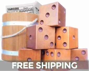 Yardzee   Yard Dice (6) - Lawn Dice Set With Hardwood Bucket, Score Cards, and Marker for Yardzee & Yardkle   Giant Dice Wedding Games  