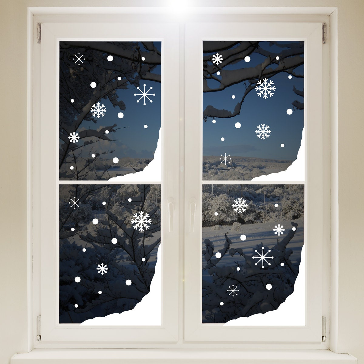 Christmas Snow Window Corners White Sticker Xmas Snowflakes