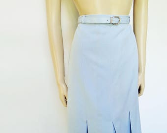 Pencil Skirt, UK14, Dusty Blue, 1980s, Secetary Skirt, Pencil Skirt, PinUp Skirt, Vintage Clothing, Ladies Clothing, Blue Skirt, Womenswear