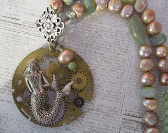 Vintage Steampunk Necklace Mermaid Fresh Water Pearls OOAK Handmade Pocket Watch Green Stones Gears Toggles Ocean