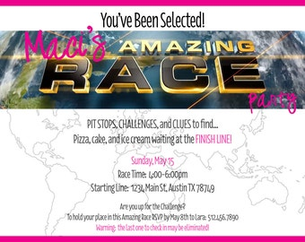 Amazing Race Party Invitation - personalized - DIY printable you print as many as you need - colors customizable