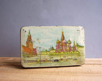 Vintage Candy Tin Box Container. Soviet Times. Red Square in Moscow. Moscow Kremlin.