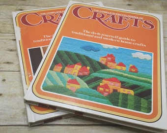 The Complete Encyclopedia of Crafts, volume 2 and 21, 1975, vintage craft books, needlepoint