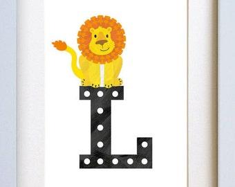 L is for Lion - letter art print