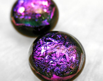 Sparkling Purple Dichroic Fused Glass Stud Earrings, Nickle Free, Hypoallergenic Studs, Surgical Steel