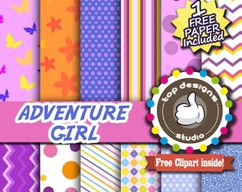 SALE Explorer Digital Paper : Adventure Girl DIGITAL Paper- The Explorer Scrapbook Paper, Clipart, Adventure Birthday Printable