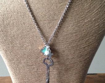 Skeleton Key Necklace, Vintage Inspired, Quatrefoil, Cross, Freshwater Pearl, Charm Necklace, Assembladge Necklace