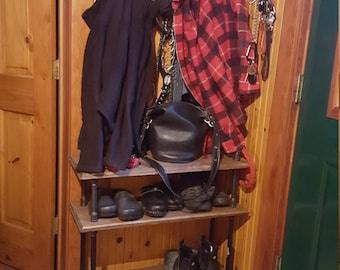 3 tier shoe rack - Retro style shoe rack - Steampunk shoerack