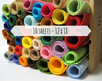 Wool Blend Felt Sheets, 12 x 18 inches - Choose 10 Colors - Felt Fabric - Large Felt Sheets - Craft Felt