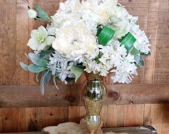 Ivory Dream Faux Floral Arrangement- Artificial Floral Arrangement- Wedding Arrangement