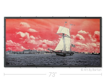 Red Sky at Night Baltimore Silkscreen Original Art with Custom Industrial Frame