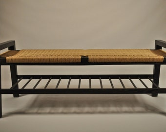 Danish cord- Scandinavian modern wood bench with shelf - Mid Century Modern