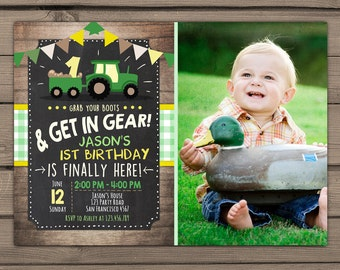 Tractor birthday invitation Tractor party invitation Farm birthday Chalkboard Wood Boy Birthday Green Yellow Digital PRINTABLE ANY AGE