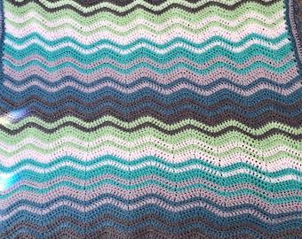 Crochet ripple blanket/baby blanket. Blues, greens and greys