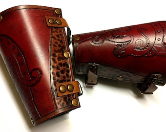 Viking Dragon Leather Bracers - Red and Whiskey Coloured