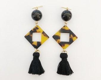 Faux tortoise dangle earrings / Gift / Birthday gift