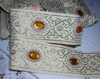 Medieval design jacquard and beaded trim 1 y x 1 1/2 inch