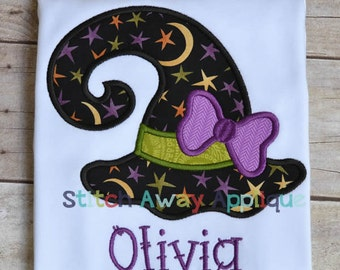 Halloween Witch Hat Machine Applique Design