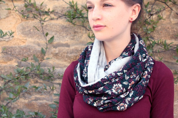 Stole-shawl, Baroque Burgundy-green-black-grey cotton scarf. Shoulder cover