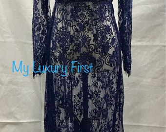 Dark Blue Long Lace SEE THROUGH Dress Maternity Night Gown for Sexy Women Mothers Day Bathing Suit Cover