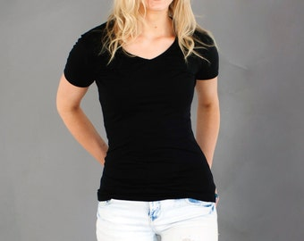Women's Bamboo Tee Shirt - V Neck