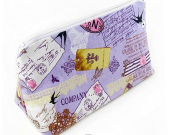 JULY PREORDER Cosmetic pouch bag with purple lolita stationary print japanese fabric make up case gift bag travel kit toiletry zipper